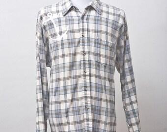 Men's Shirt / Upcycled Plaid Shirt / Screen Printed Anchor / Size XL Tall