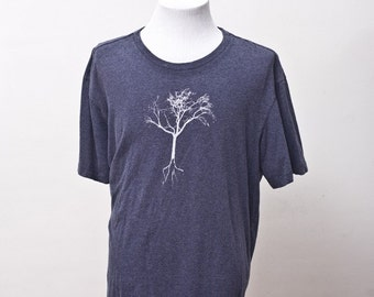 Men's T-Shirt / Upcycled Tee with Screen Printed Tree / Size XL
