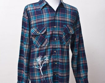 Vintage Upcycled XL Plaid Shirt with Screen Printed Tree