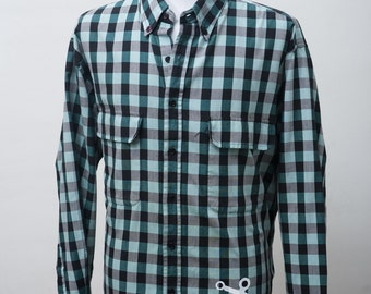 Men's Shirt / Upcycled Plaid Shirt with Screen Printed Anchor / Size XL