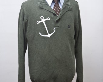 Men's Sweater / Nautical Anchor Screen Print / Upcycled / Size Large