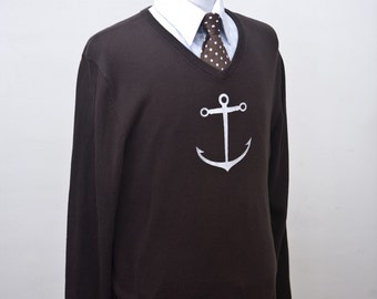 Men's Sweater / Upcycled Brown Sweater with Screen Printed Anchor / Size Medium