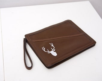 Vintage Leather Clutch with Stag