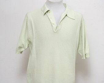 Men's Athletic Shirt / Vintage Knit Polo Shirt / Size Large