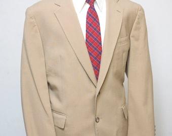 Men's Suit / Vintage Tan Blazer, Trousers / Size 48/XL