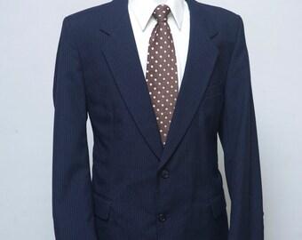 Men's Navy Pinstripe Suit / Men's Suit Coat / Blazer / Size 42 Vintage
