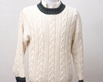 Men's Sweater / Vintage Gap Preppy Cableknit Sweater / Size Small