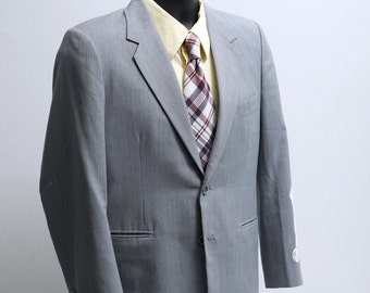 Men's Suit / Vintage Blue Grey Pinstripe Upcycled Screen Printed Race Car / Size 38