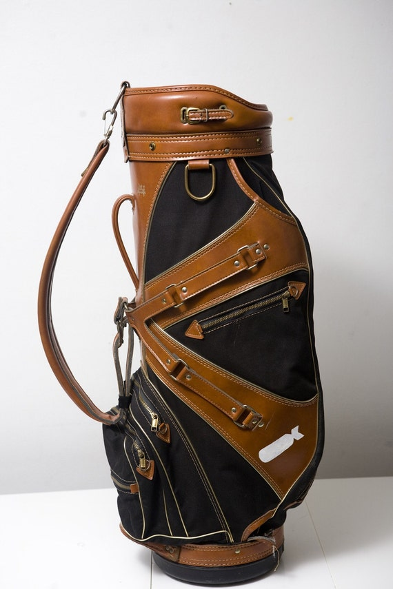 Vintage Black and Tan Golf Bag Upcycled with Dropping Bombs