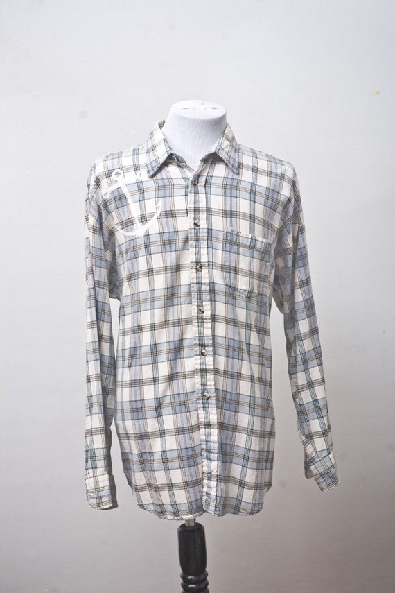 Men's Shirt / Upcycled Plaid Shirt / Screen Printed Anchor / Size XL Tall