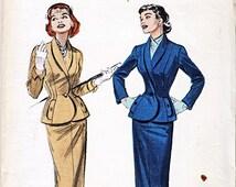 Women's Suit Pattern Butterick 6817 Size 12 Cut and Complete Vintage 1950s