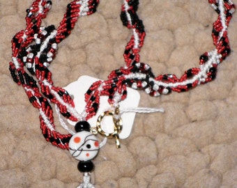Red, White, and Black Spiral Necklace