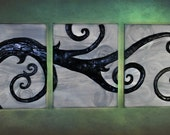 3 Panel Acrylic on Canvas Painting - Twisted in the Wind - Home Decor - Wall Decor - Unique - OOAK - Tree Art
