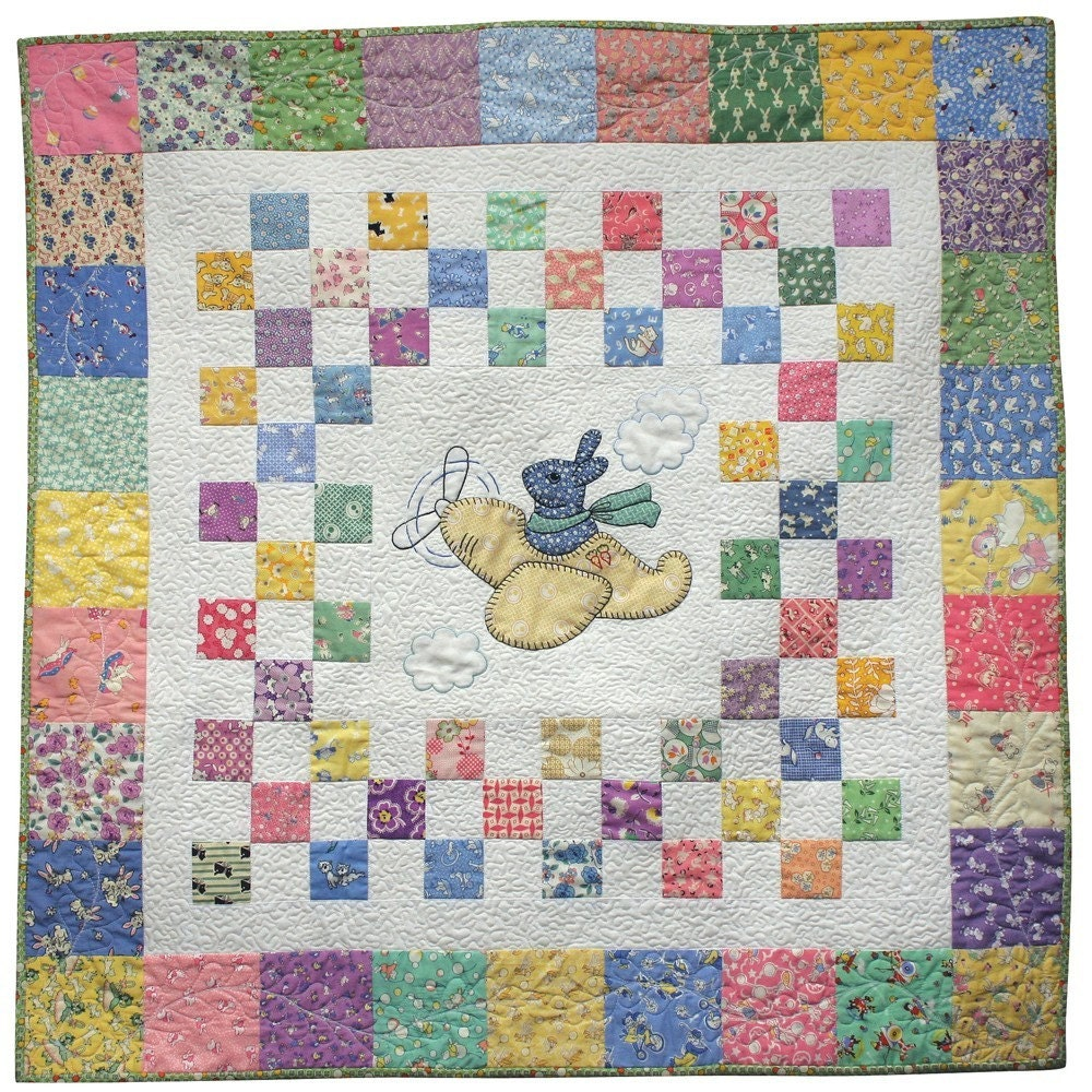 Bunny In The Sky Applique Baby Quilt Pattern