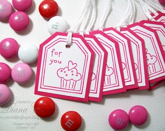 Party Favor Tags - Gift Tags - For You Tags with Cupcake, Cupcake Tags - Hot Pink Birthday Favor Tags - Treat Bag Tags