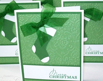 Elegant Christmas Cards - Hand Stamped Personalized Holiday Cards - Christmas Card Pack - Green Stocking Christmas Cards