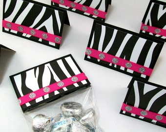 Zebra Treat Bags and Toppers (Set of 10) - Animal Print Party Favors - Candy Favor Bags - Valentine Favors, Birthday Favors