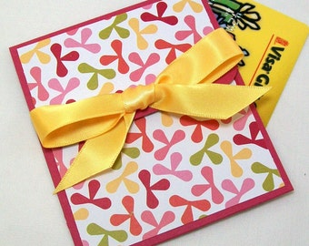 Pretty Gift Card Holder - Birthday Gift Card Holder, Money Cards for Women, Pink and Yellow Gift Card Envelope **CLEARANCE Sale**