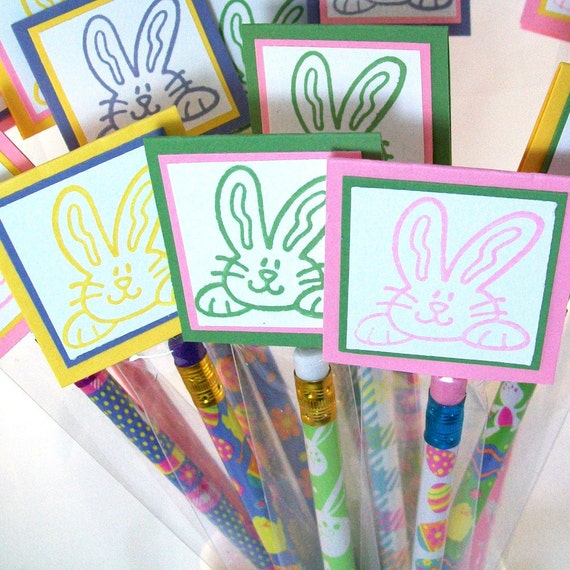 Easter Pencil Treat Bags and Toppers - (Set of 10 - Filled) - Great Party Favors or Easter Basket Filler