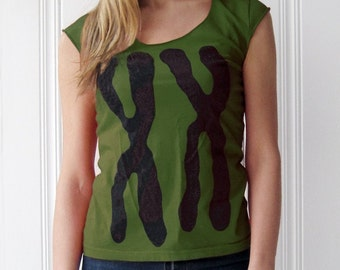 Womens XX shirt - Chromosomes - St. Patrick's Day gift for women - green yoga clothing - nurse gift for her - funny tshirt, graphic tee