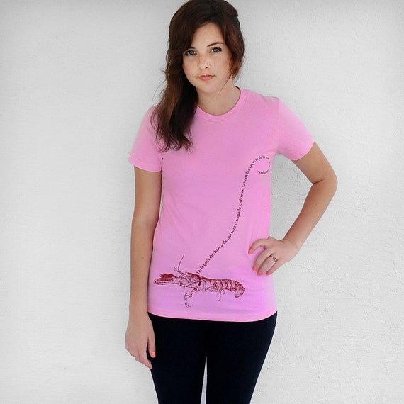 Womens Lobster Shirt,  amerian apparel pink t-shirt : cool clothing, nautical gift for her