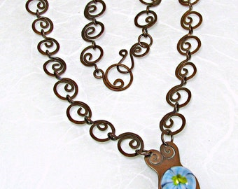 Blue Flower Goddess Lampwork Necklace