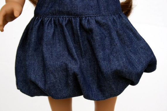 American Girl Doll Clothes - Back to Basics, A Bubble Skirt in Navy Blue Denim, Made To Order