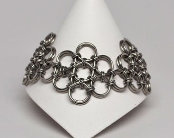 Stainless steel chainmaille bracelet or anklet Japanese weave