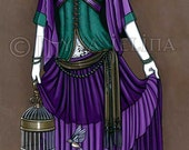 Avery Purple Couture Bird Cage Angel 13 X 19 inch Art Print
