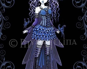 Haylee Gothic Blue Butterfly Fairy Art Signed Print by Myka Jelina