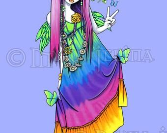 Chloe Rainbow Butterfly Hippie Fairy 8x10 inch Art Print
