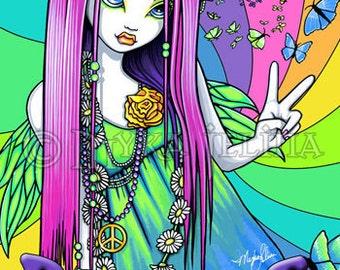Rainbow Hippie Peace Fairy Art OOAK ACEO Chloe CU