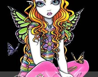 Sunny Rainbow Flower Child Fairy Art OOAK ACEO Canvas Embellished