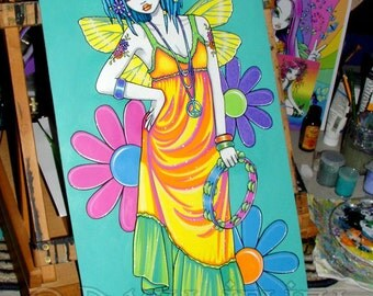 SALE Harmony Rainbow Hippie Flower Child Fairy Original Painting