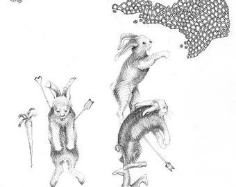 Drawing of Rabbits, Original Pencil Drawing, Framed Contemporary Art