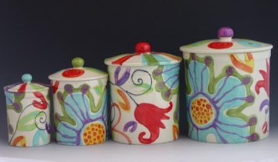 floral canister set jubilation canister set of by romyandclare
