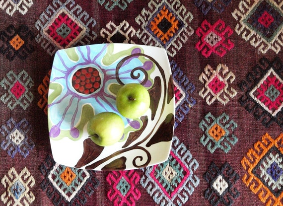 Boho Plate Serving Plate Pottery Plate Appetizer Tray Urban Fusion Mod Square Medium Plate 10.75 in  Colorful Pottery Hostess Gift UF