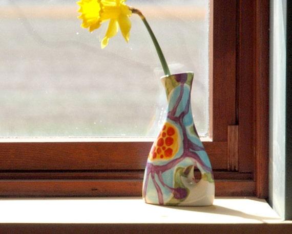 Bud Vase READY to SHIP Vase Ceramic Vase Jubilation Small Funky Vase Colorful Pottery Gift for Teacher Gift for Hostess Best Friend Gift  J