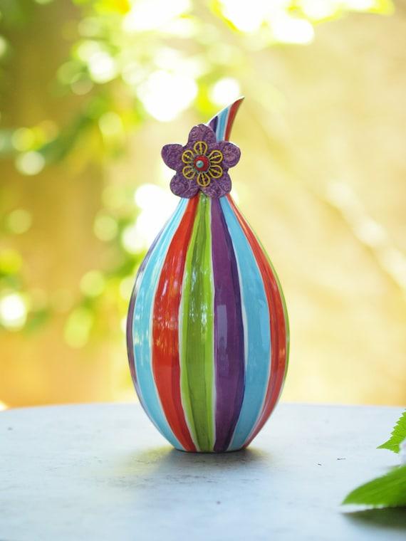 Vase Striped Vase Flower Vase Pottery Vase Colorful Vase Happy Ceramic Vase Jubilation Blooming Contempo Vase No.1 Valentine Gift for Her