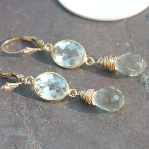 Long Green Amethyst Earrings Wire Wrapped in 14k Gold Fill Gold Vermeil by Maggie McMane Designs
