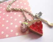 Strawberry Love Strawberries dessert Pie Strawberry Cookie and Fork necklace