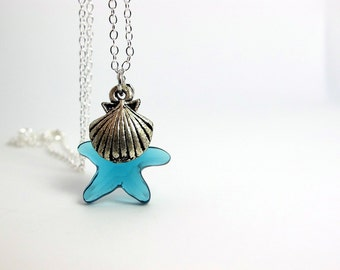 Nautical Style Ocean Sea Blue Starfish Swarovski Crystal pendant with seashell on Sterling Silver necklace
