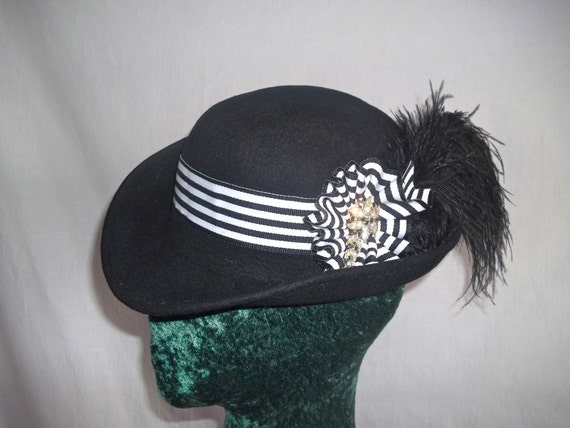 Steampunk Hat Derby Neo Victorian Black White Asymmetrical Bowler
