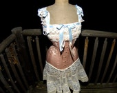 Steampunk Wedding Dress, Lace Gown, Corset, Peach wedding, Vintage Style, Edwardian Clothing