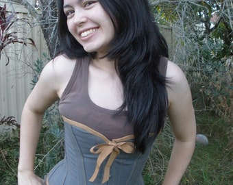 Slate Grey Steel Boned Handmade Custom Steampunk Style Overbust Corset with Mustard Accent