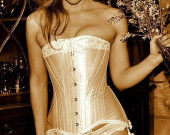 Edwardian Corset in white luminous satin - Bridal Lingerie for Weddings