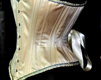 Perfect Steel Boned Ivory Satin Coutil  Overbust Wedding Corset with Lovely Vintage Trim Custom Made Just for You