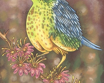 """Beautiful Bird 10 - an 8 x 10"""" ART PRINT of a sweet and quiet yellow and limegreen and sky blue bird sitting on a branch of pink flowers"""