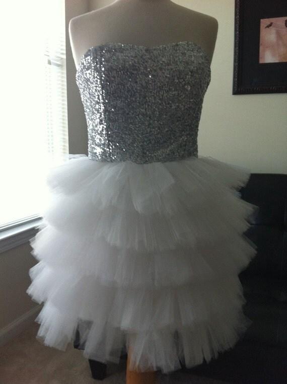 RCB Custom size/color sequin funky short tulle fluffy wedding cocktail dress