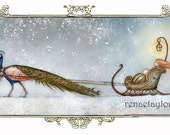 Peacock Sledge, Greeting Card by Renae Taylor
